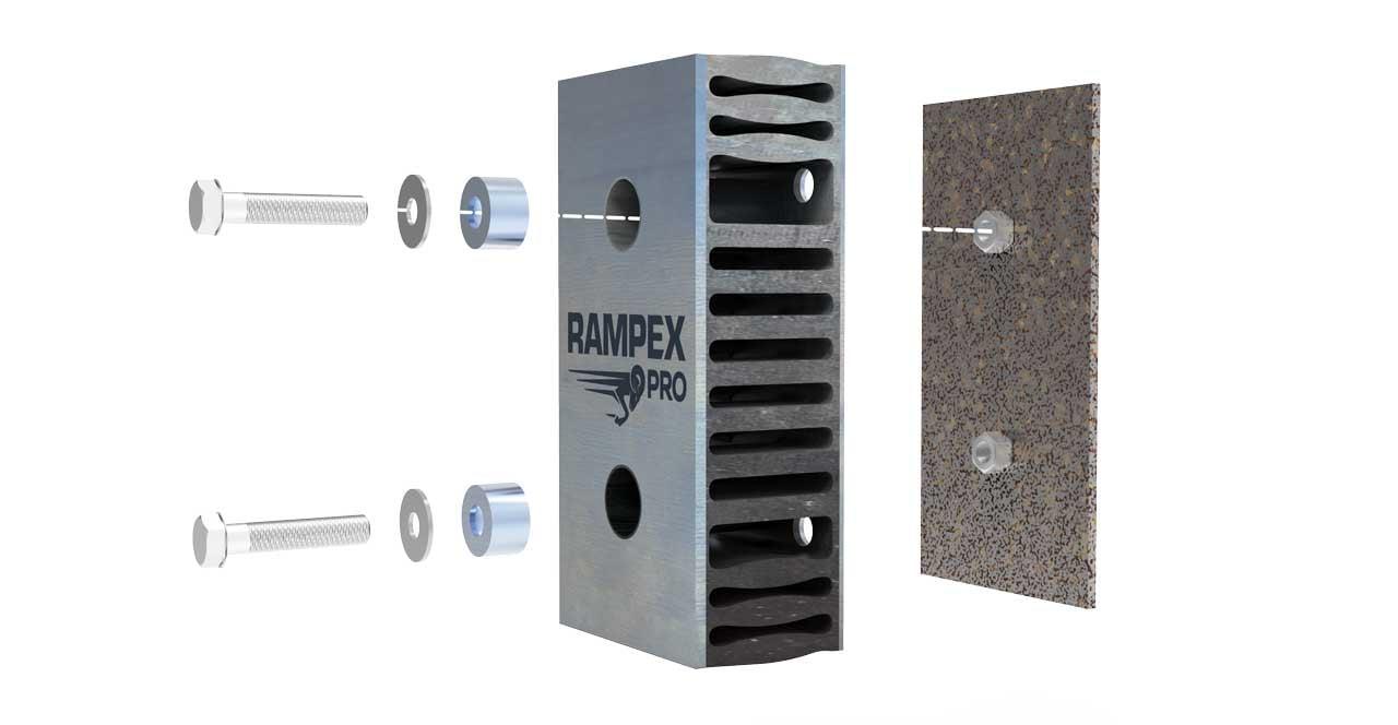 Montage der Rampenpuffers RAMPEX-PRO an Grundplatte mit Anschweißmuttern