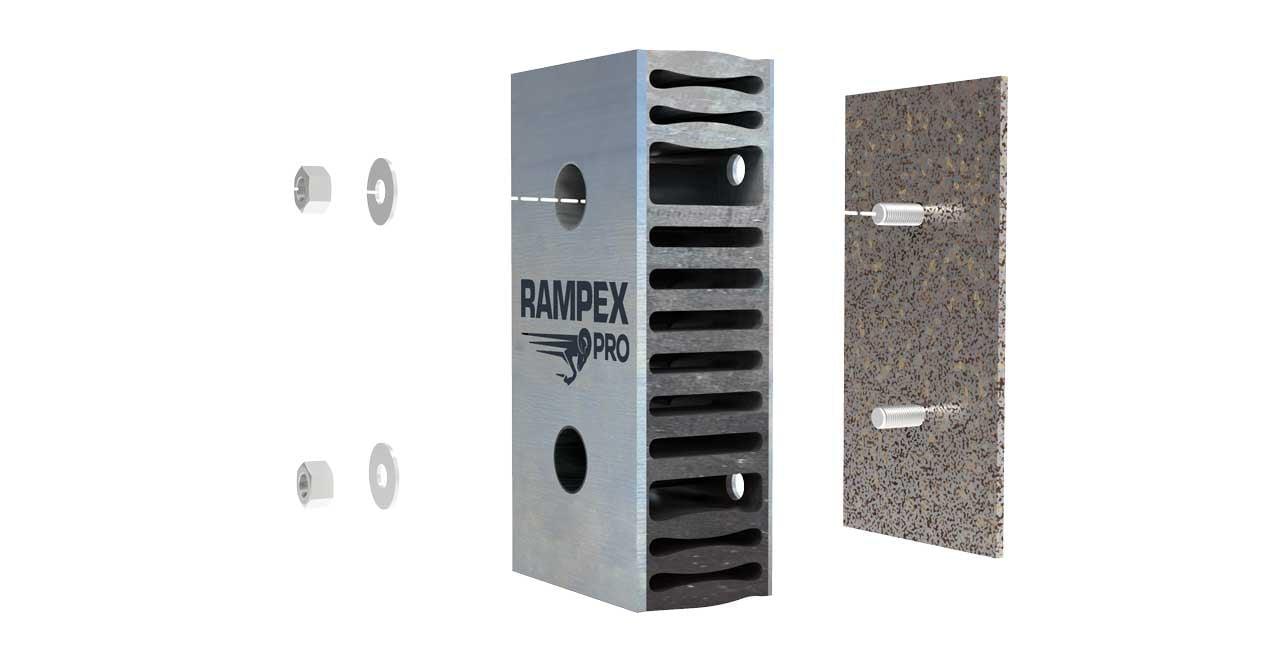 Montage des Rampenpuffers RAMPEX-PRO an Grundplatte mit Gewindenbolzen
